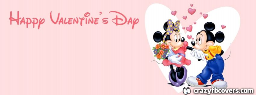 Mickey And Minnie Mouse Happy Valentines Day Facebook Cover