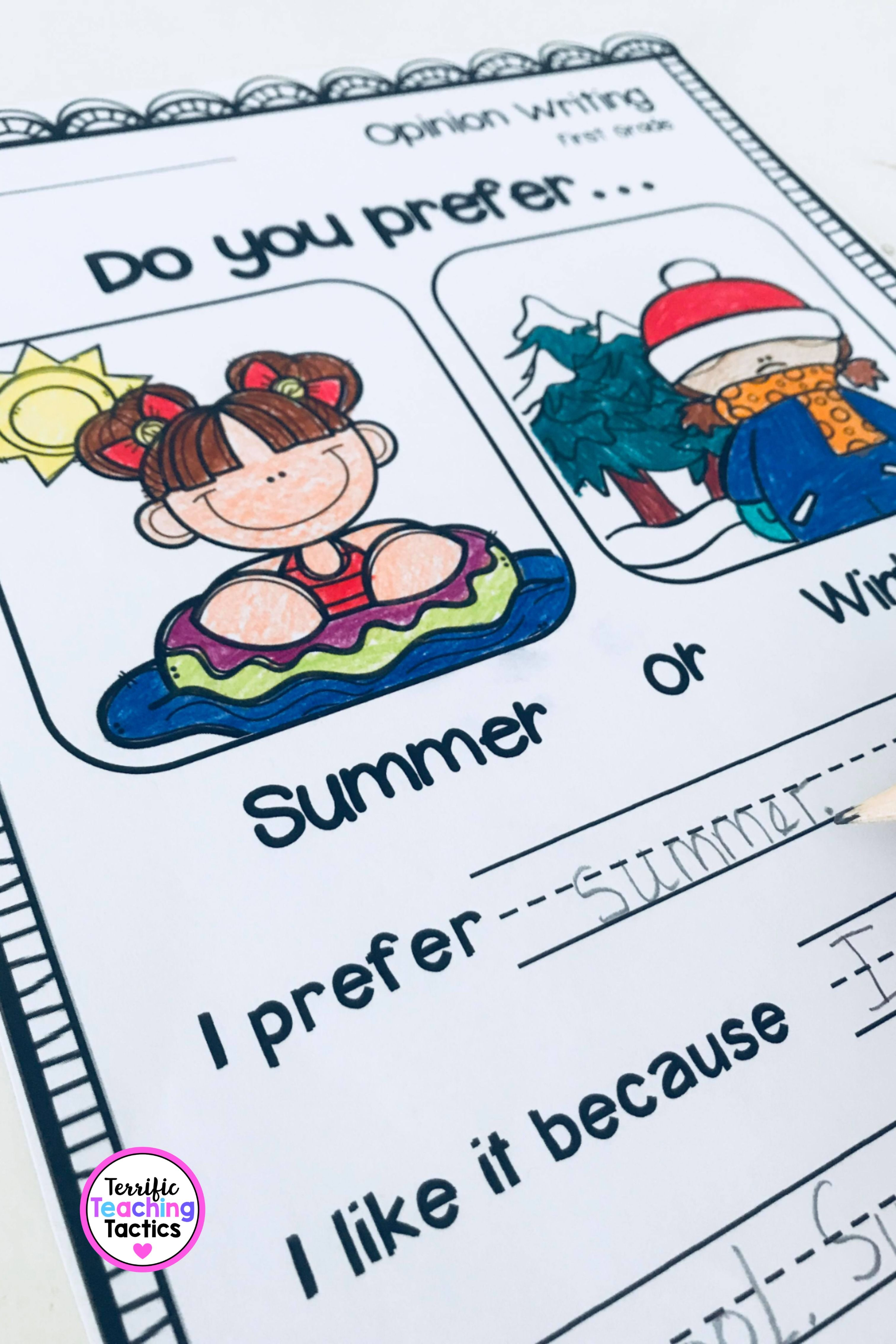 First Grade Opinion Writing Prompts And Worksheets In