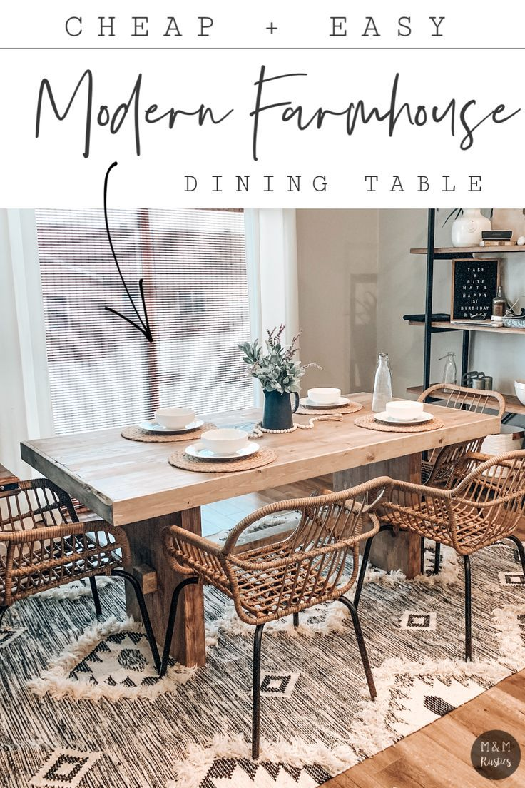 Diy Modern Farmhouse Dining Table Cheap And Easy Diy Dining Room Table Wood Dining Table Diy Modern Farmhouse Dining