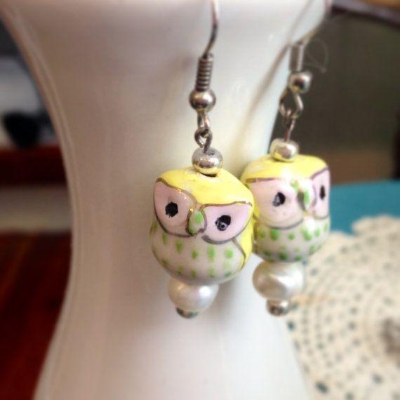Lime Twist Beaded Owl Earrings by VintagedWhimsy on Etsy, $14.00