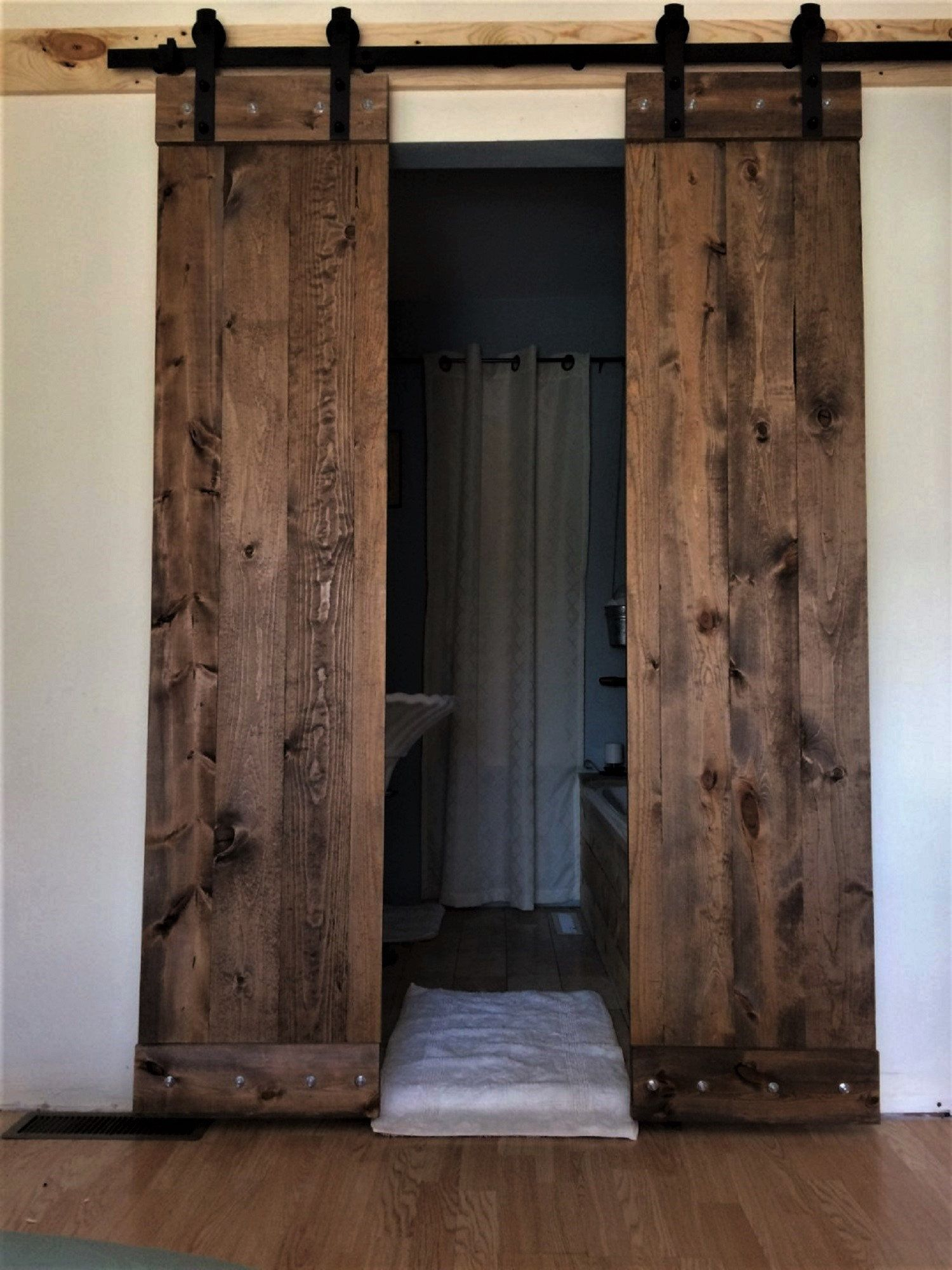 Double Barn Doors Hardware 6 6ft Wide Sliding Double Barndoor Track Kit Solid Wood Interior Doors Z Pattern Option T0tal 36 Widex 84 Tall Double Barn Doors Barn Door Barn Doors Sliding