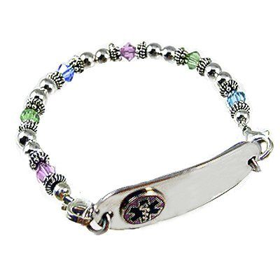 Medical ID Bracelets and jewelry custom engraved for men, women, children - Birthstone Medical ID Bracelets $45