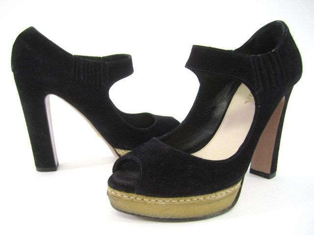 AUTH PRADA Black Suede Strap Pumps Heels Shoes Sz 36.5 6.5 at www.ShopLindasStuff.com