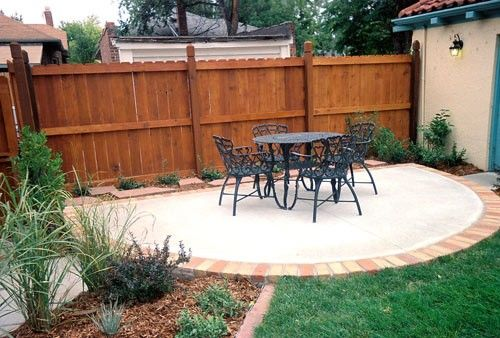 Brick Edging For Around Concrete Patio Rustic Fire Pits Backyard Landscaping Designs Gazebo With Fire Pit
