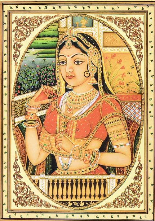 Rajasthani Lady  Mughal Paintings, Indian Traditional -5029