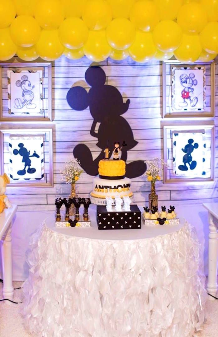 Yellow & Gold Mickey Mouse Birthday Party   Pinterest