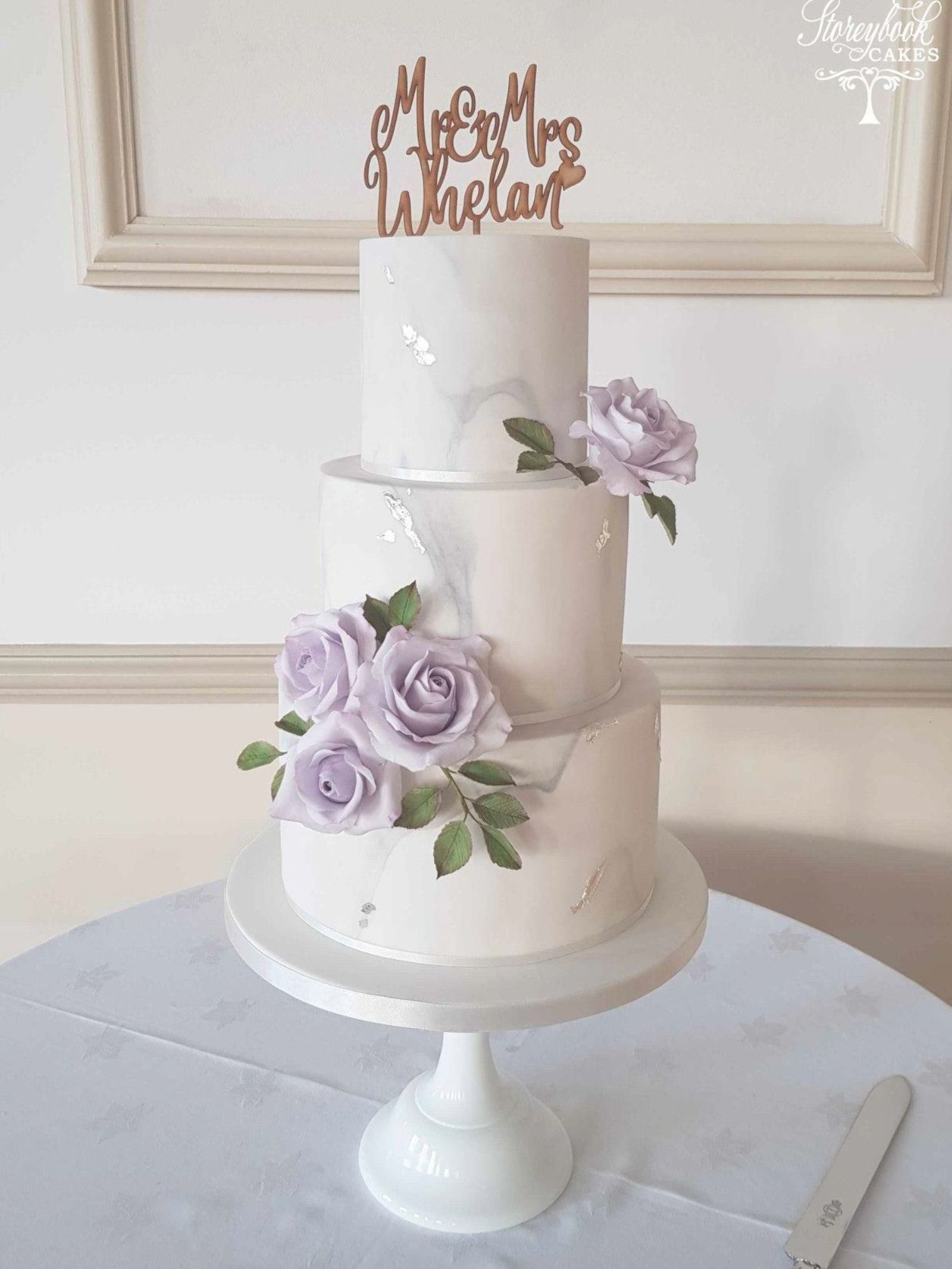 Marble Wedding Cake Lilac Sugar Roses Beautiful 3 Tier Wedding