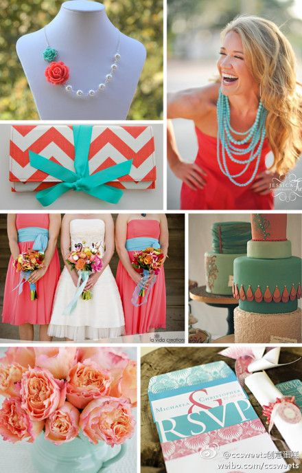 coordinated wedding planning coral & turquoise