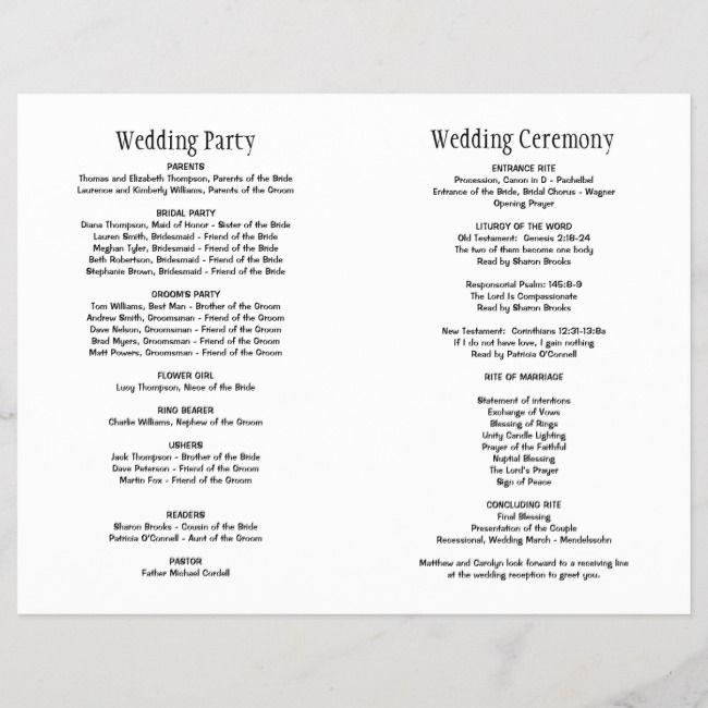 Wedding Ceremony Programs Black Script Programs#Black