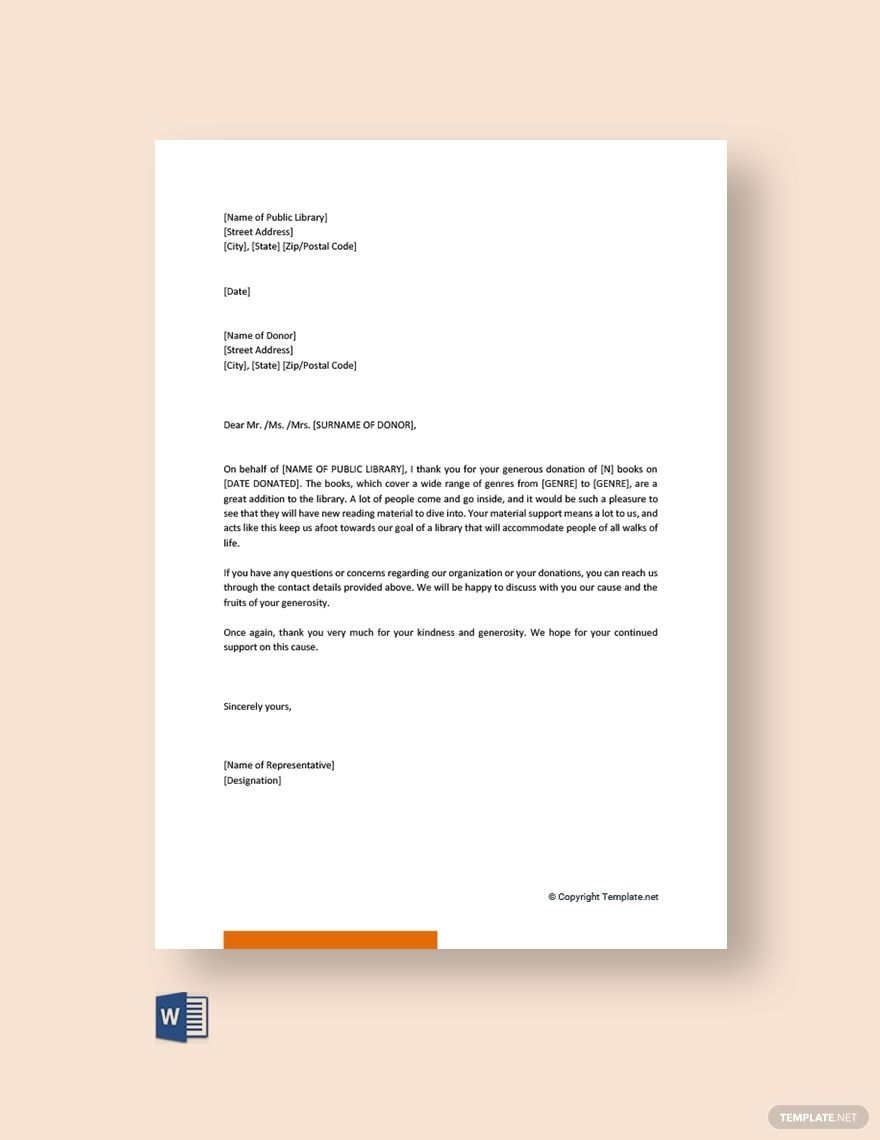 Acknowledgement Letter Template For Book Donation Free Pdf Word Donate Books Donation Letter Lettering