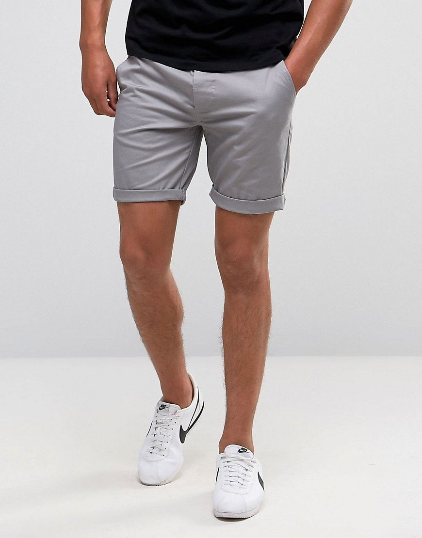 c2abfbc989 Slim Chino Shorts In Light Gray in 2019 | Mens outfits | Stylish ...