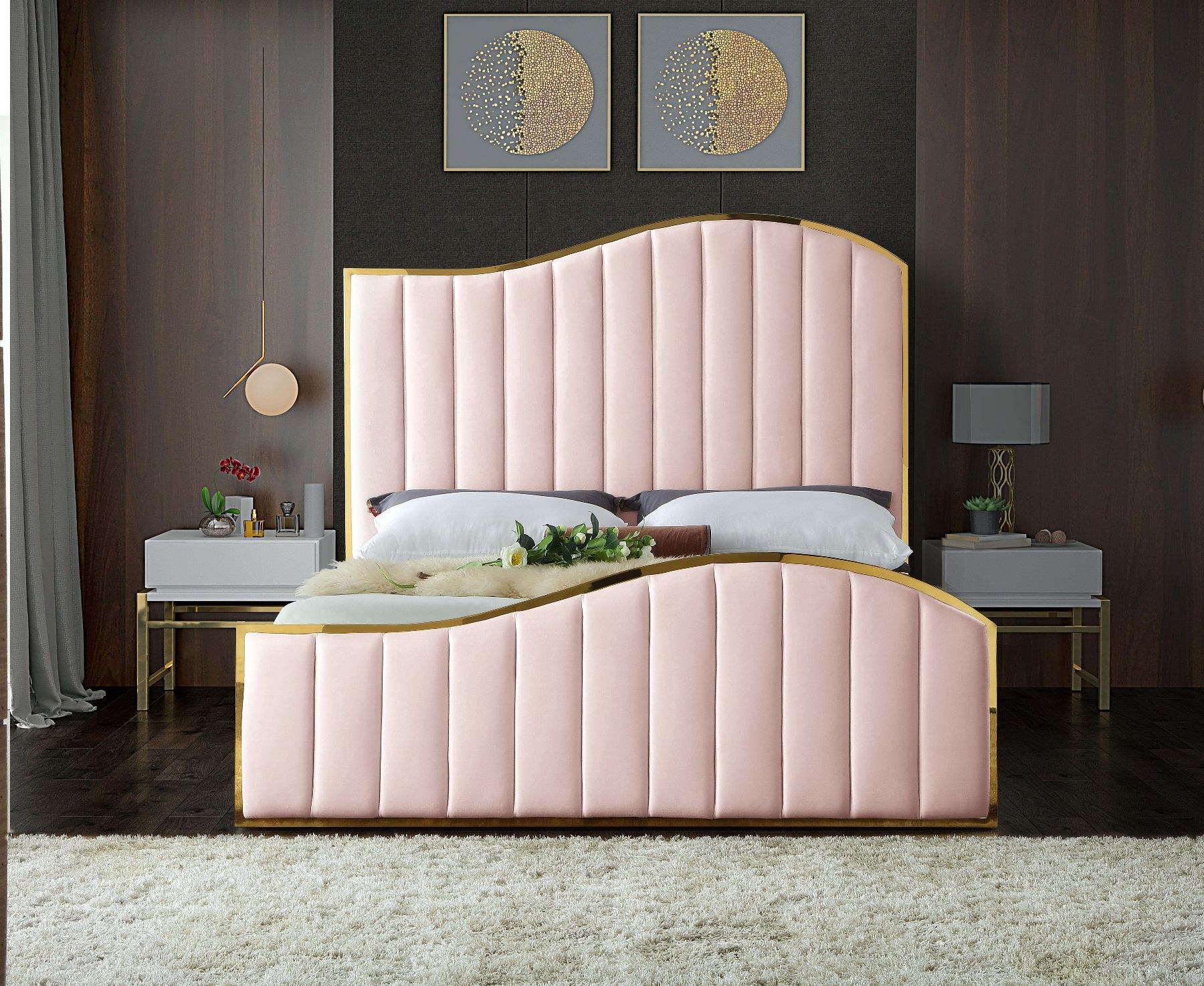 Meridian Jolie Pink Curved Golden Frame / Velvet King Bed