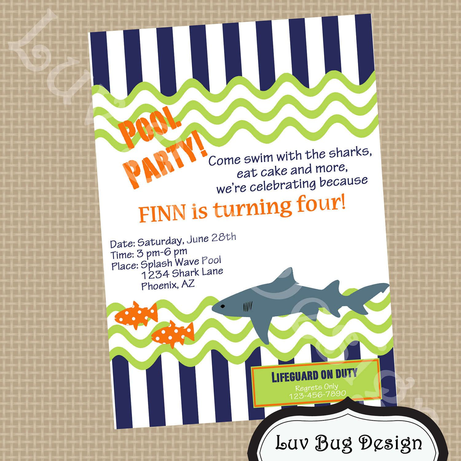 Free Party Invitation Templates Free Printable Pool Party - Free shark birthday invitation template