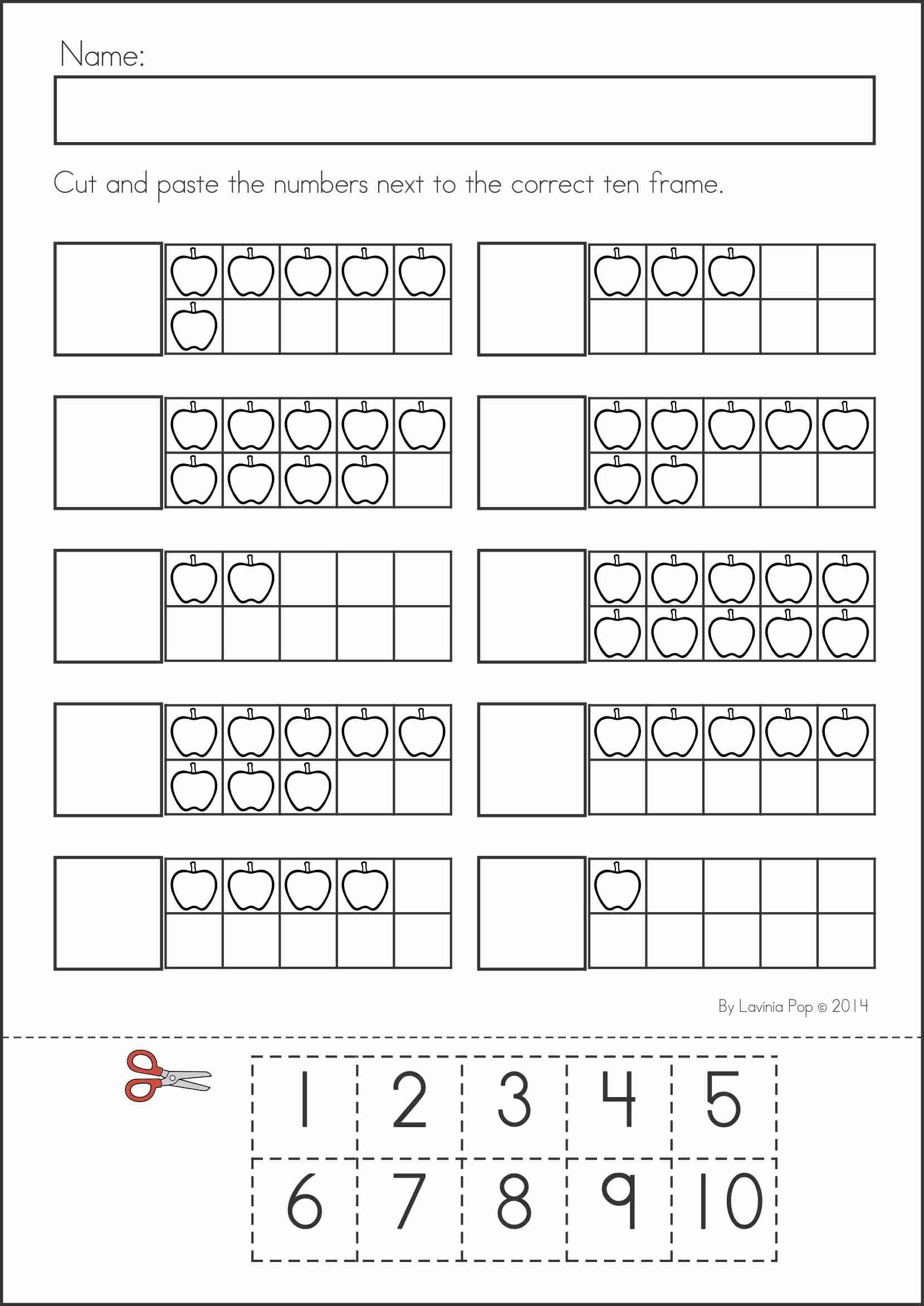 Ten Frame Number 9 Worksheet