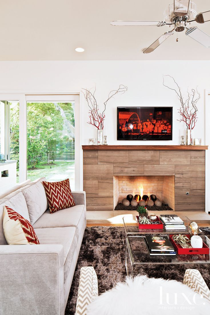 Interior Design Fireplace Living Room: Contemporary Living Room With Fireplace