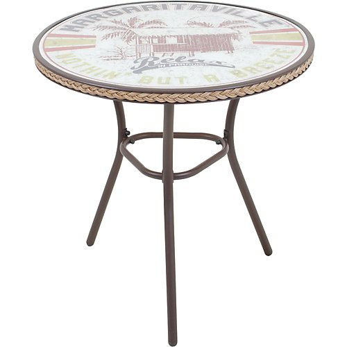 This Margaritaville Napoli Bistro Relax Outdoor Table Features A Rust Resistant Powder Coated Steel Frame With Amber Smoked Temp Outdoor Table Table Bistro Set