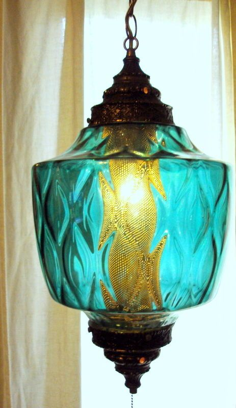 Vintage Swag Lamp Blue Green Unusual Shape Mid Century Swag Lamp Swag Light Unique Chandeliers