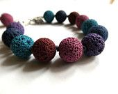 Lava stone bracelet blue fuchsia purple red
