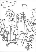 A Free Printable Minecraft Coloring In Picture Of World With Steve And Many