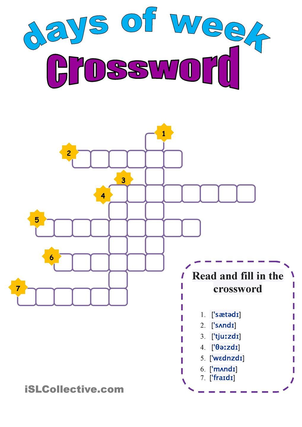 Days Of The Week Crossword Writing Games For Kids Crossword Literacy And Numeracy [ 1440 x 1018 Pixel ]