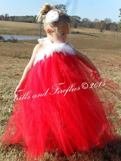 72923ae1d0 Red Christmas Santa Tutu Halter Dress with White Boa Trim...Sizes Baby to  Size 8 ... Great for Holiday Photos