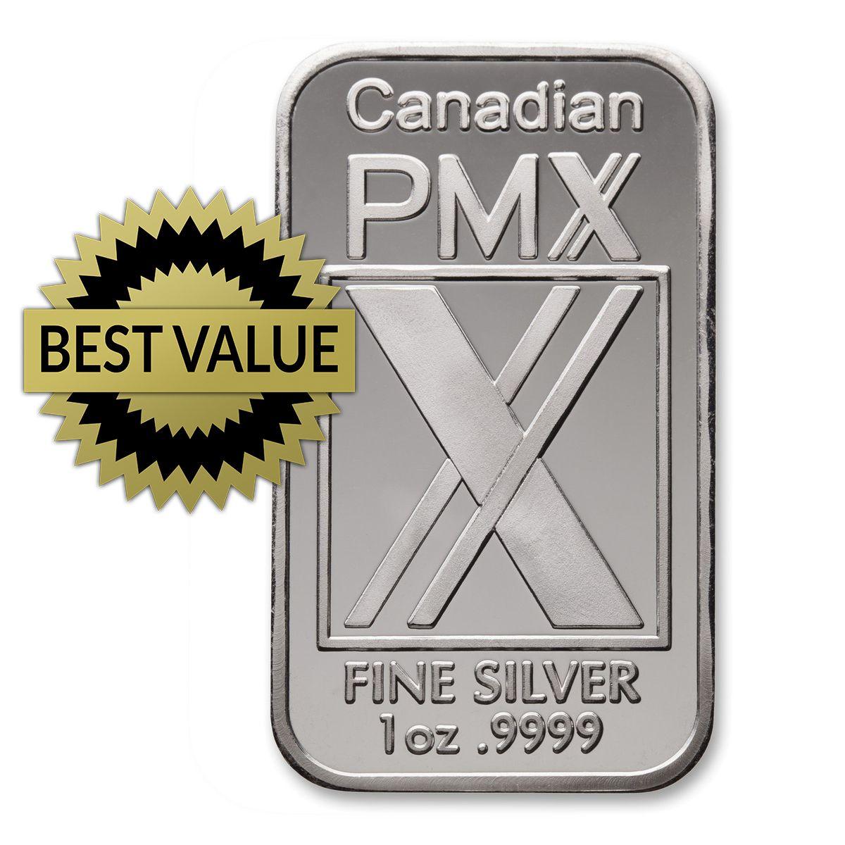 Silver Bar 1 Oz Canadian Pmx Corp 9999 Silver Bars Silver Bullion Silver