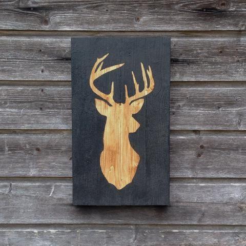 Stag Head Silhouette - Wood Wall Decor at wwwwoodenartdesigns - peinture sur meuble bois