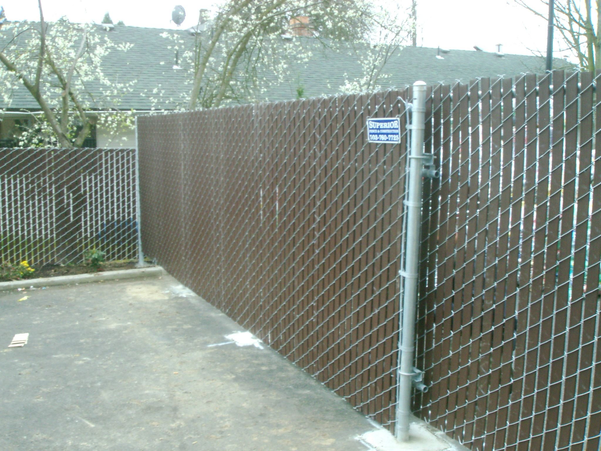 Brown Slatted Chain Link Fence And Gate 503 760 7725 Modern