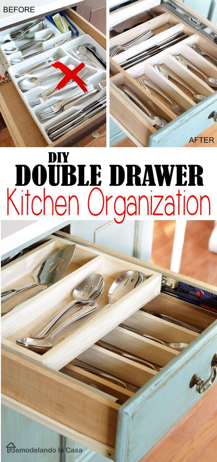 Diy Double Layer Drawer Organization Kitchen Drawer