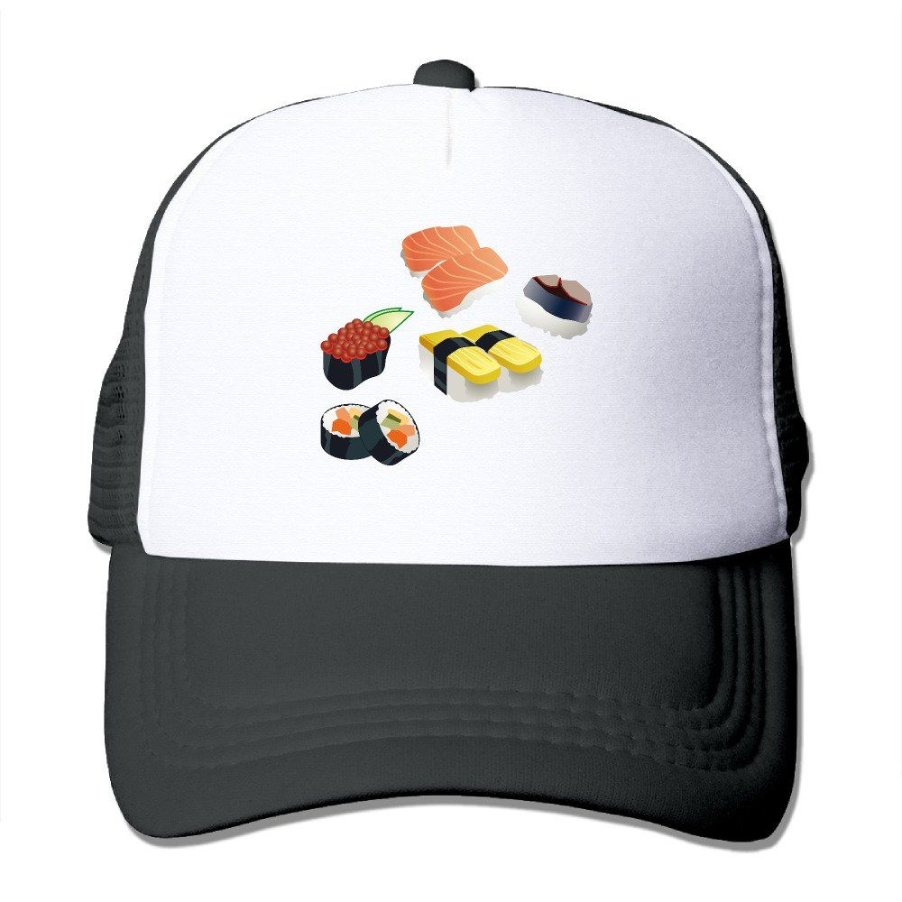 79f7465fe4dfd I LOVE Sushi Printed Hat Summer Mesh Cap With Adjustable Snapback Strap  With 5 Colors.