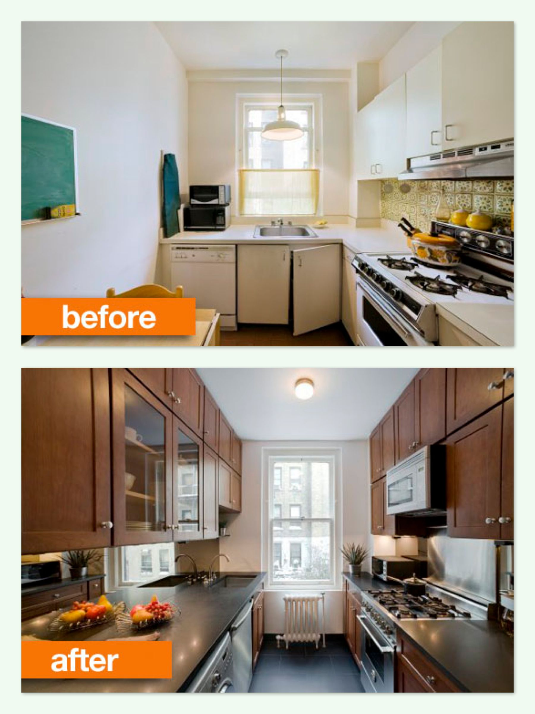 Galley Kitchen Renovation Before And After before & after - stellar job on renovating a small outdated