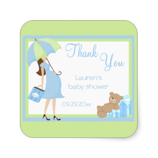 Teddy Bear Blue Shopper Baby Shower Stickers
