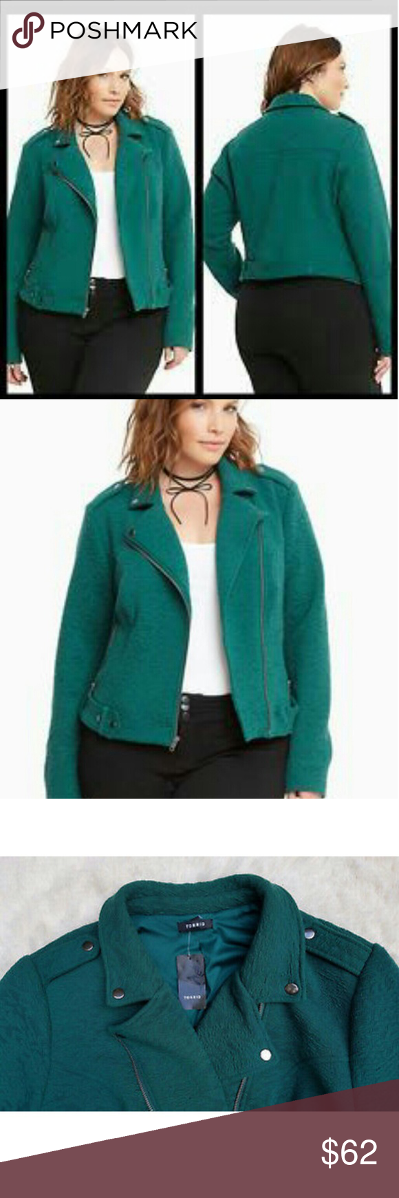1d74165df56 NWT Torrid Jacket New with tags Torrid knit material moto jacket size 4.  Material is very comfy and stretchy. Color is rainforest green.