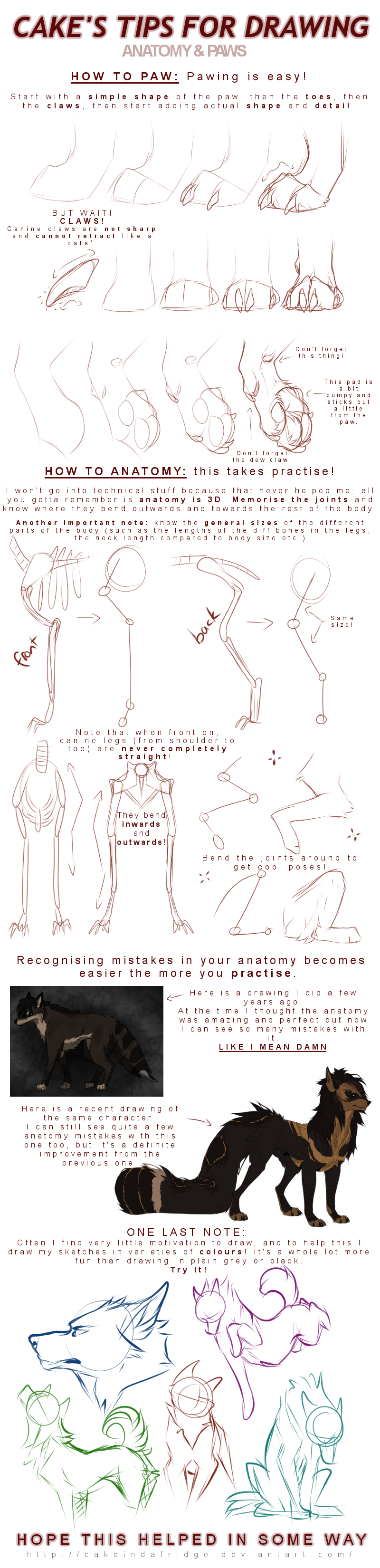 tutorial|Cake\'s tips for drawing: PAWS + ANATOMY by Cakeindafridge ...
