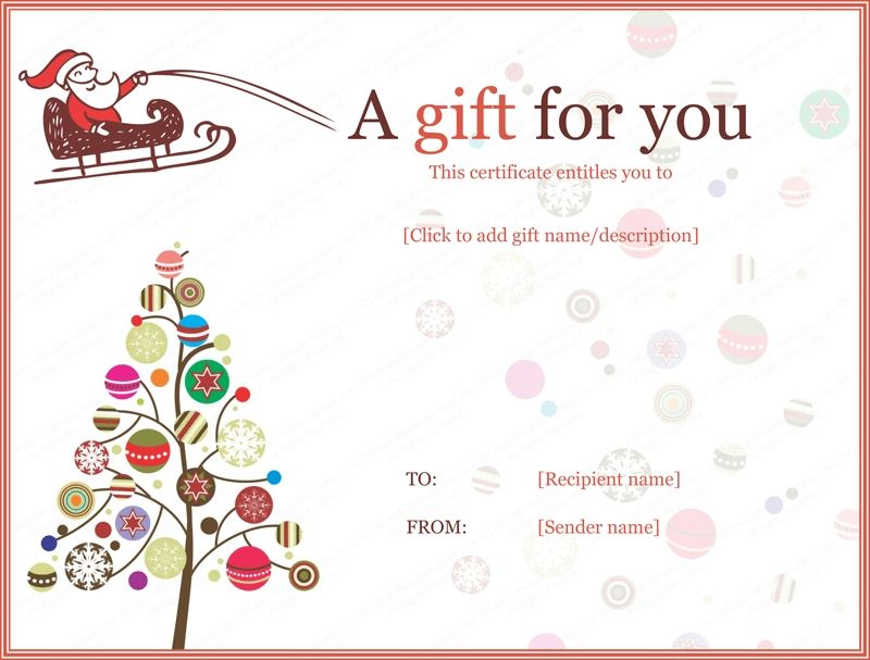 Christmas Gift Certificate Templates - Printable \ Editable For - gift certificate word