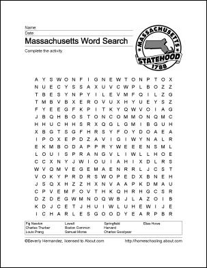Massachusetts Printables: Massachusetts Wordsearch ...