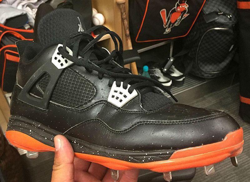 bfd835d8e1d7cd Manny Machado Air Jordan IV 4 Orioles PE Cleats   Turf Shoes ...
