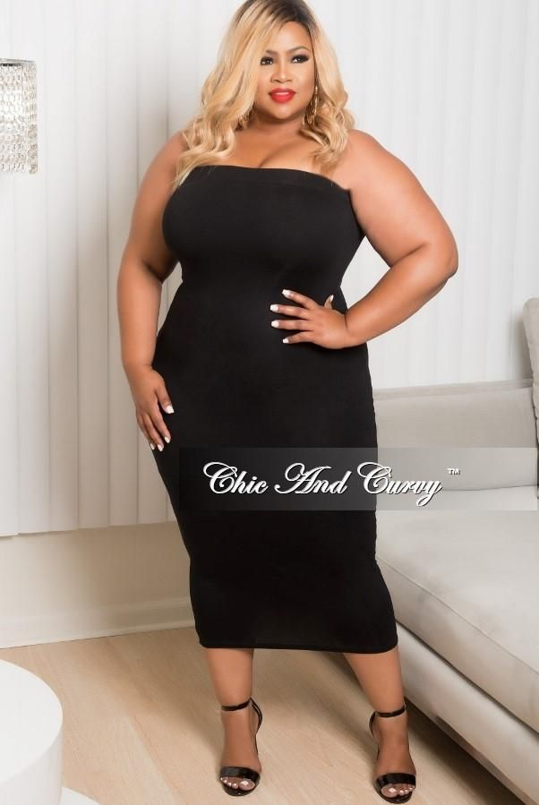 Plus Size BodyCon Tube Dress in Black – Chic And Curvy ...