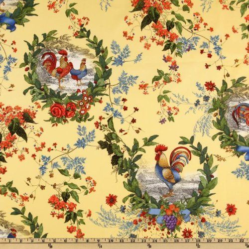 44 Wide French Country Rooster Toile Yellow Fabric By