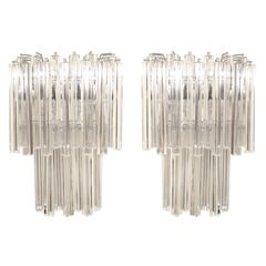 Beautiful Pair of Murano Crystal Wall Sconces