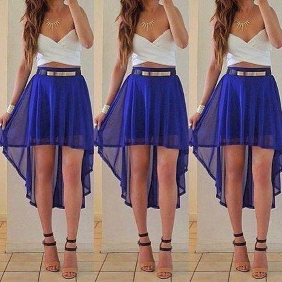Blue High Low Shorts