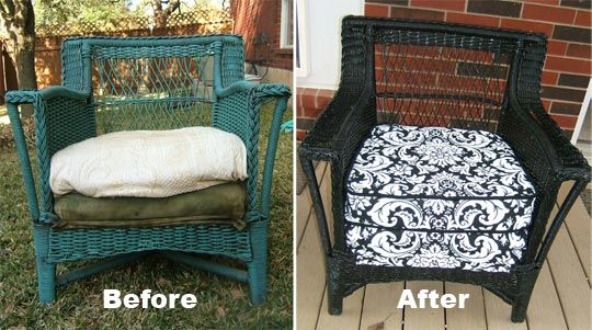 Audrey S Lovely Diy Wicker Chair Before And After Furniture Makeover Redo Furniture Patio Furniture Redo