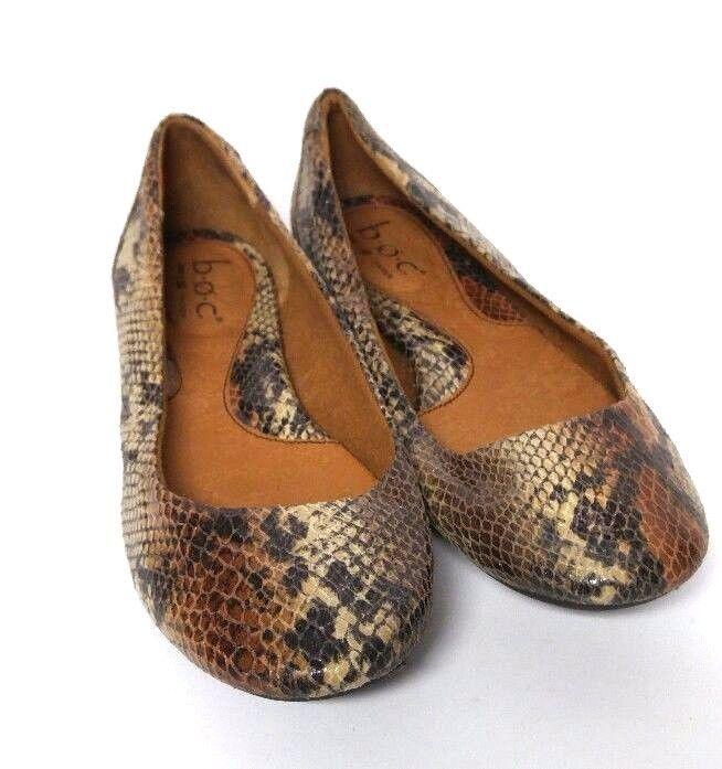 5dca3940b3ac Boc Born Batik Ballet Flats Shoes Faux Snake Skin Women s 8 Slip On Black  Brown  BocBorn  BalletFlats