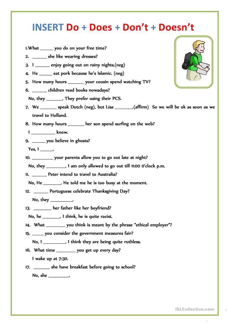 Insert Do Does Don T Doesn T Worksheet Free Esl Printable Worksheets M English Worksheets For Kids English Grammar Worksheets English Grammar Exercises [ 1079 x 763 Pixel ]
