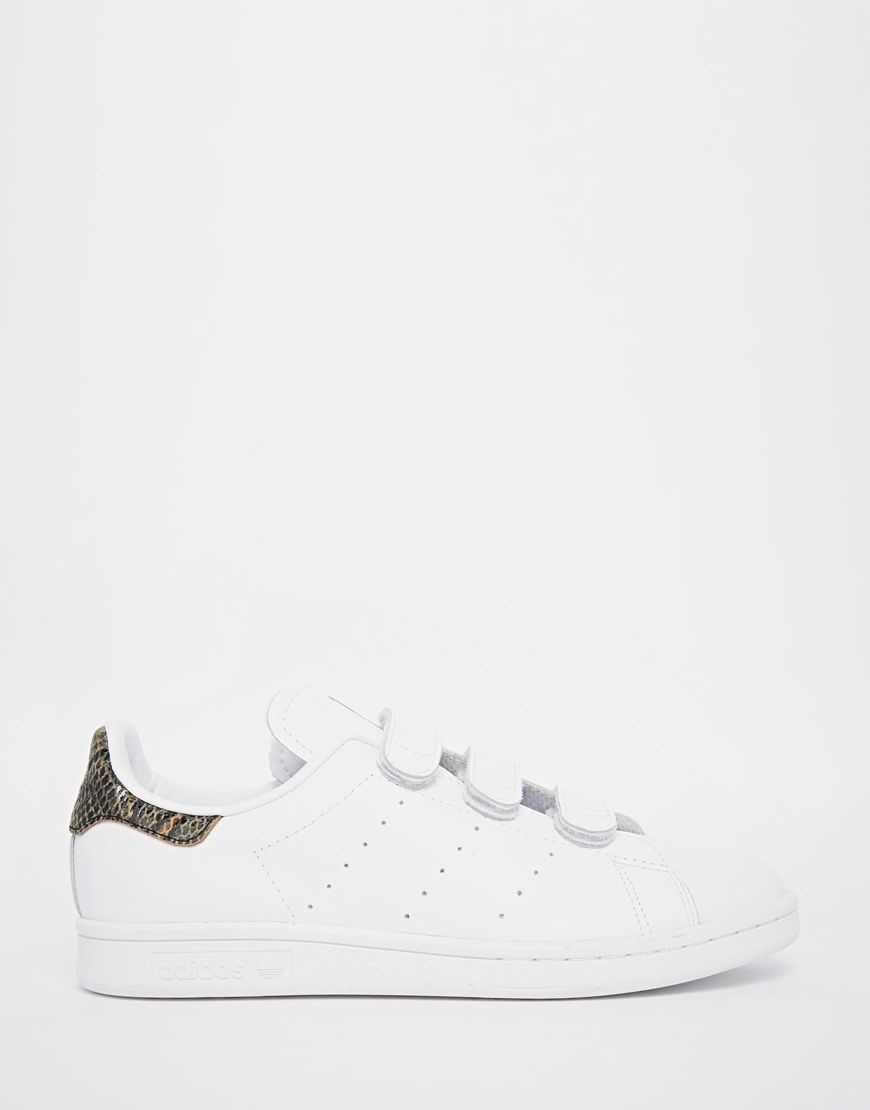 adidas Originals Stan Smith with Faux Snakeskin Velcro Trainers at asos.com