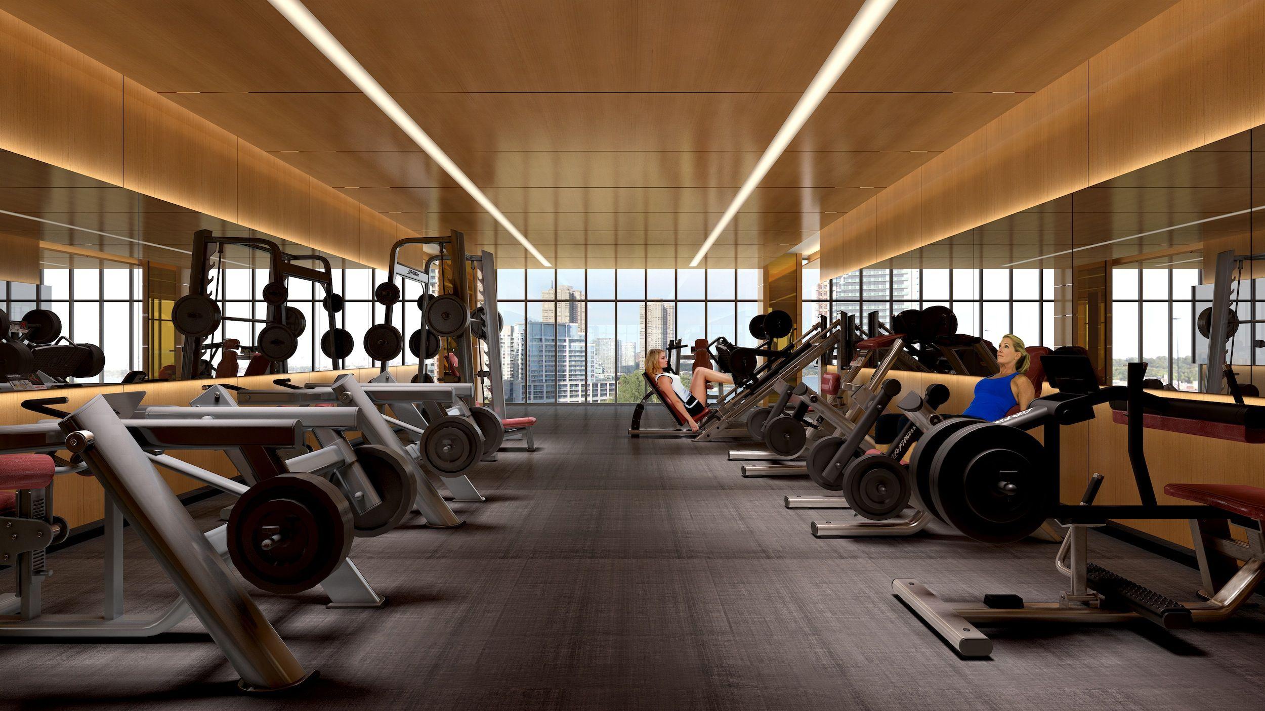 Eau du soleil gym interior rendering true condos for Gym fitness