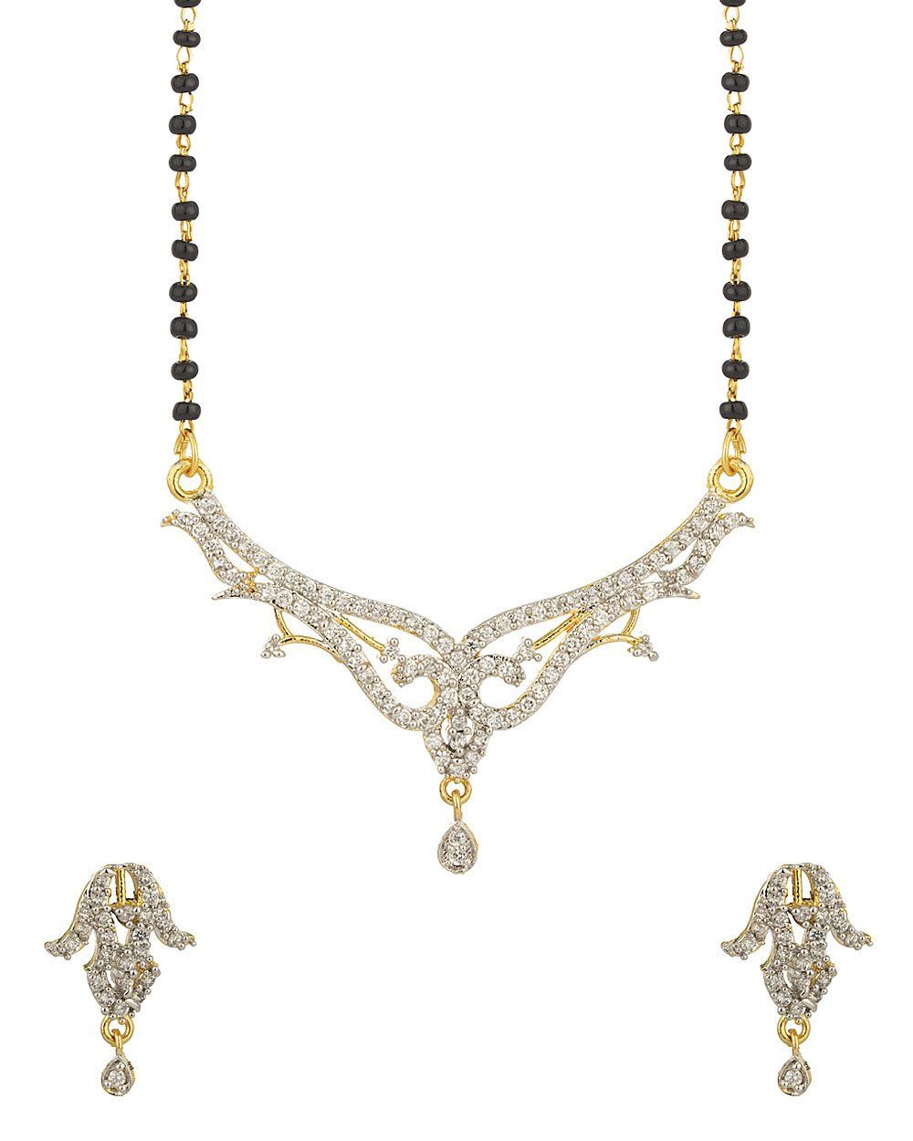 Buy voylla gold plating single chain mangalsutra set with sparkling