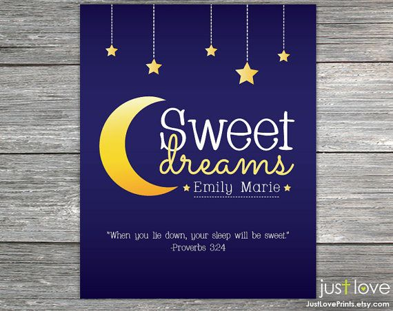 Custom Name Sweet Dreams Print Proverbs 3:24  by JustLovePrints on Etsy. #Christian #nursery #baby #Christianbaby #babyart #nurseryart