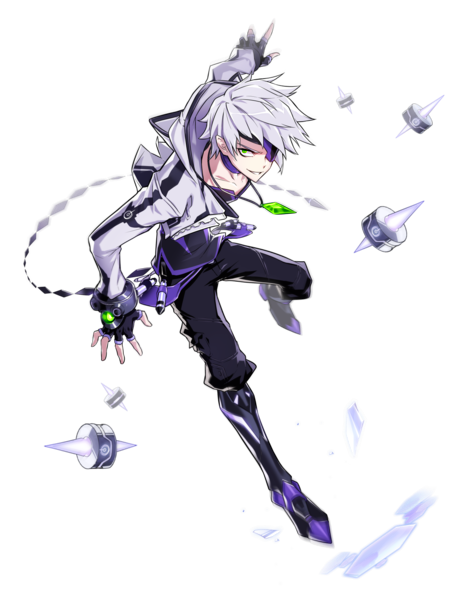 Anime Boy With White Hair And Green Eyes Character Art Elsword Anime