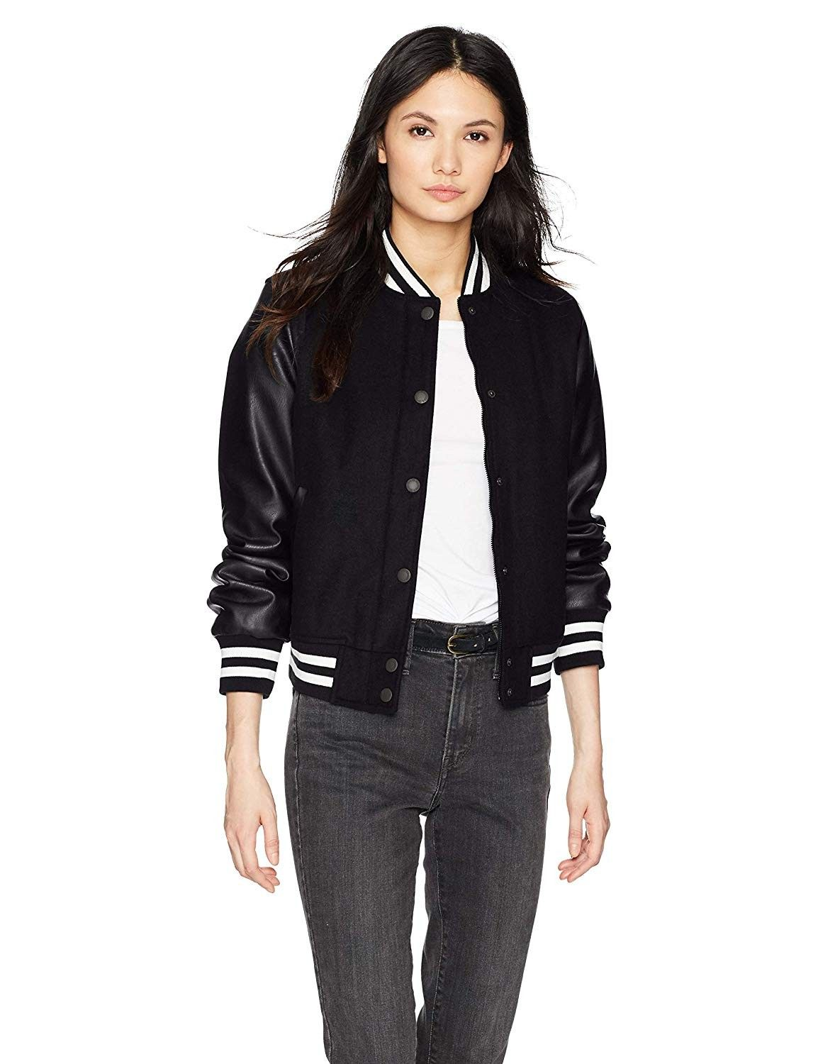 Levi's Mixed Media Bomber Jacket faux leather and wool